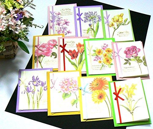 (C-blossom)花物語 メッセージカード グリーティングカード 優美 上品 おしゃれ 大切なあの人に カード入れ付き 6枚セット (A+Bセット)