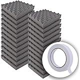 【 超大容量 波型5cm 24枚セット 】 WhiteLeaf 極厚 波型 ウレタンフォーム スポンジ 吸音材 緩衝材 クッション材 25cm×25cm 密度26kg/m3 両面テープ付属で簡単取り付け