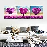 CrmaOArt - 3パネル抽象的なパッチワーク絵画壁アート - ロマンチックなレッドピンクのハート型の木は恋人を愛して - キャンバスアートホームインテリア - 50x50cm