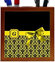 Rikki Knight Letter G Yellow Monogram Damask Bow Design 5-Inch Tile Wooden Tile Pen Holder (RK-PH41855) [並行輸入品]
