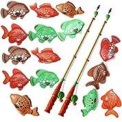 15pcs 12.5cm ビッグフィッシングのおもちゃ&2pcsの長い磁気釣り竿の子供の釣り浴室おもちゃプレイセット