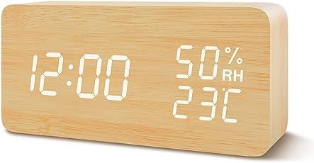 目覚まし時計 置き時計 Suncree デジタル LED表示 大音量 温湿度計 カレンダー アラーム3つ 振動/音感センサー 輝度調節 設定記憶 USB給電 木製 おしゃれ プレゼント