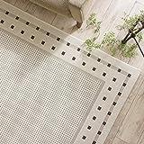 北欧 風 薄型 平織り ラグ カーペット ( エセンザ 140x200cm アイボリー ) 約 1.5畳 ウィルトン織り フラットタイプ