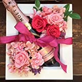 結婚祝い 花 ワイン お祝い ギフト 記念日 シャンパンモエとプリザーブドフラワーの額縁アレンジ ピンク 大