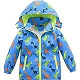 Boys Girls Jacket Hooded Trench Dinosaur Zip Lightweight Kids rain Coat Windbreaker Outdoor