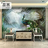 HANHUAN アールデコ様式のフレスコ画の壁紙の壁画防水カスタマイズ可能なサイズの東洋の花鳥中国風の抽象的な孔雀のテレビの背景の家の装飾のシルクの Non-Toxic 環境保護バスルーム/レストラン/バー/ホール/リビング/玄関/キッチン/オフィス/ベッドルーム、 315 x 232 cm 。