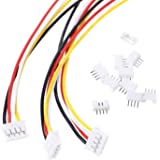 WOWOONE 10 Sets Mini Micro Jst 2.0 Ph 4 Pin Connector Plug Female with 150mm Cable & 10 PC Male Connector Plug