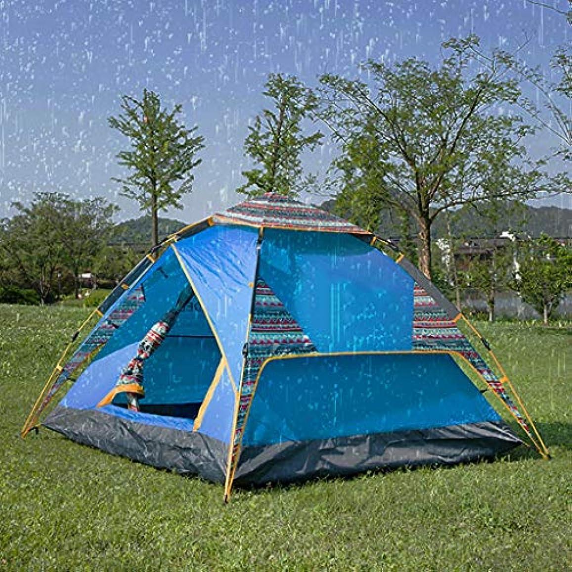 ボランティア後継アンプポップアップテント自動インスタントポータブルビーチテント2-3人用テント付きキャリーバッグ防水UV保護サンシェルターキャンプ用品ハイキングバックパッキング旅行アウトドアアウトドア簡単セットアップブルー