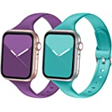 Seizehe Compatible with Apple Watch Band 38MM 40MM 42MM 44MM Series 3 Series 5, Silicone Slim Thin Narrow iWatch Bands 38MM 4