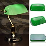 WEIZHONGXIANG Creative Vintage Green Glass Desk Banker Lamp Shade Cover Cased Lampshade Bedroom Bedside Lamp