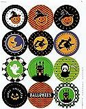 【Fuwari】 ハロウィン シール ステッカー 60枚( 12枚 X 5シート)  小分け ラッピング 装飾 飾り プレゼント 用  (⑨)