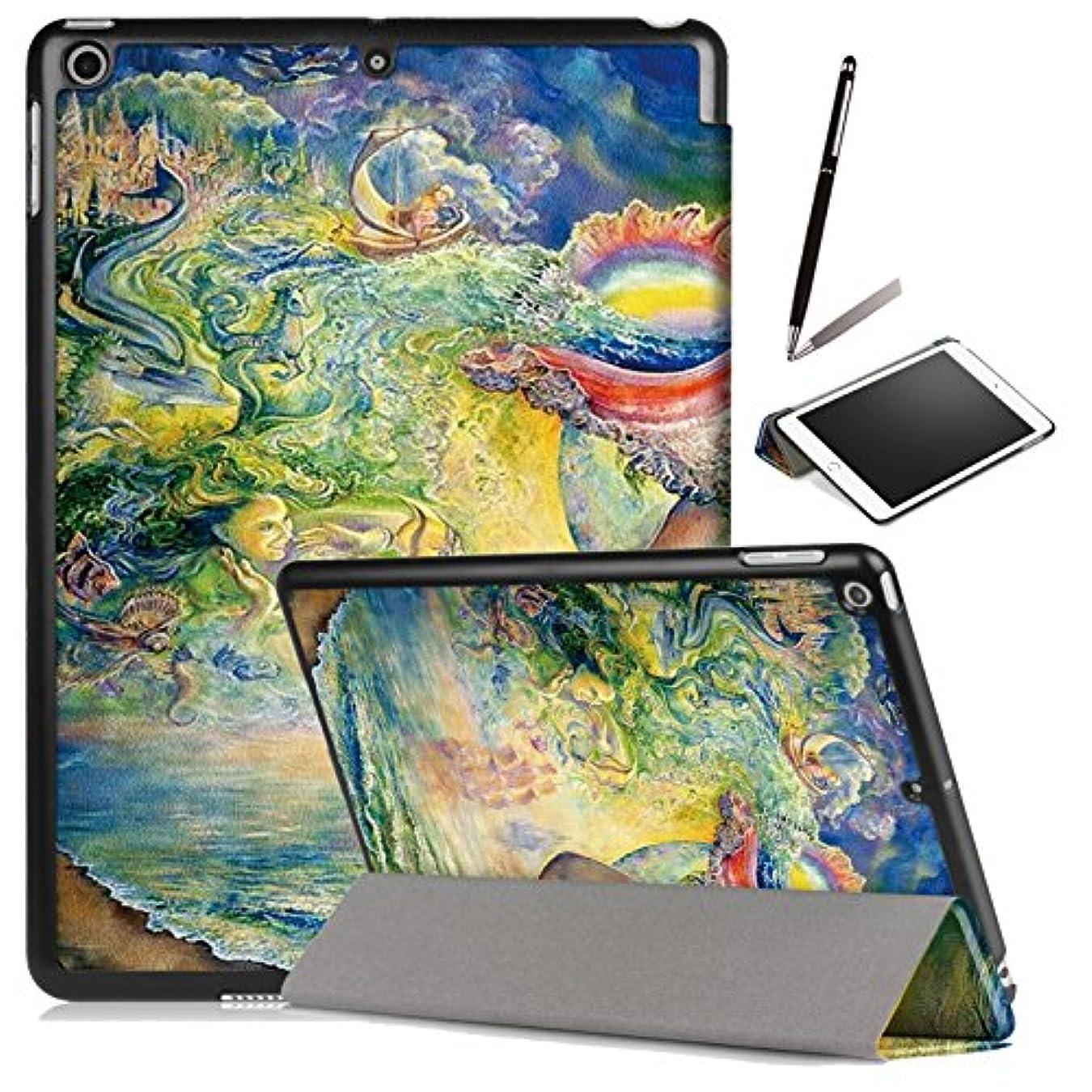 北東シード収益【ANNNGROUP】New iPad 9.7 2018/2017 用 ケース 開閉式 三つ折スタンド オートスリープ機能 超軽量 傷つけ防止 ipadモデル番号A1822/A1823/A1893/A1954に対応-タッチペン付き(デザイン10)