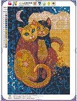 数字によるDIYデジタルペイントペイントダイヤモンド塗装_新しい5Dダイヤモンド塗装動物シリーズ猫スティックダイヤモンドクロスステッチ装飾塗装@形月猫30 * 40