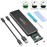 ELUTENG M.2 SSD ケース Type-C to NGFF M.2 アダプタ SATA B key/B+M keyのみ対応 USB 3.1 Gen1 M2 SSD ケース 5Gbps 2230 / 2242 / 2260 / 2280mm USB to M.2 UASPサポート USB C + USB A ケーブル ネジセットドライバ付き
