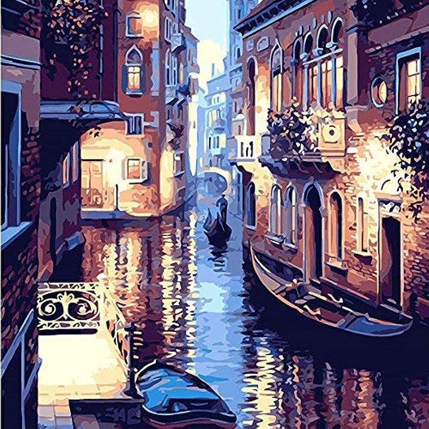 振る舞いチーズプラスチックFrameless DIY油絵キャンバスリネン番号キャンバスヴェネツィアの水の世界40X50CM