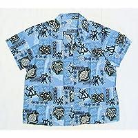 【ノーブランド オリジナル・オーダーメイド???】 女性用アロハシャツ 古着 カメ ペトログリフによるハワイ古代人 タパ モンステラ