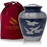 SmartChoice Wings Freedom Cremation Urn Human Ashes - Affordable Funeral Urn Adult Urn Ashes Handcrafted Urn (Royal Blue)