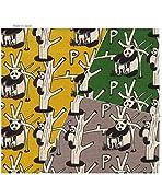 【50cm単位】大人かわいいパンダのプリント生地★ノーザンクロス♪◆綿麻混の布地 【動物柄】【国産生地】【手芸の柳屋】 1-A イエロー系