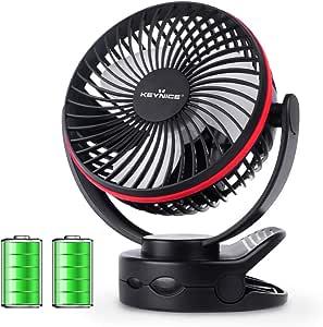 【2019年最新改良版】 KEYNICE usb扇風機 卓上扇風機 クリップ 充電式 usbファン 超強風 静音 風量4段階調節 360度角度調整 長時間連続使用 LEDライト機能付き ブラック