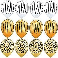 loonballoonゼブラストライプ印刷ホワイトオレンジLeopardジャングル( 12 )ラテックスパーティーバルーンセット