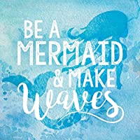 Be A Mermaid & Make Wavesブルー水彩Look 3 X 3木製Inspirationalマグネット