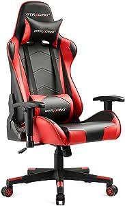 GTRACING ゲーミングチェア オフィスチェア デスクチェア ゲーム用チェア リクライニング パソコンチェア ハイバック ヘッドレスト 腰痛対策 ランバーサポート ひじ掛け付き 高さ調整機能 PUレザー レッド(GT099-red)