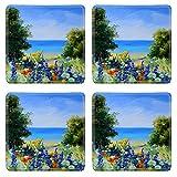MSDスクエアコースターイメージ35891067油彩画風景フィールド海の近くWild花アートワーク背景 WXAEALcAwA_OIL PAINTING LANDSCA_332
