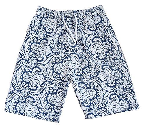 (ザッカリーズ) ZACCARY's ビーチ に映える メンズ サーフパンツ 爽やか オリエンタル 柄 + スノーマーク 防水 水着 バッグ 計2点セット 海水パンツ 海 パン <オリエンタル XL >