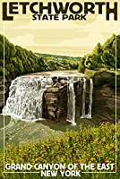 Letchworth状態公園、ニューヨーク–Middle Falls–Grand Canyon of the East 12 x 18 Art Print LANT-33428-12x18