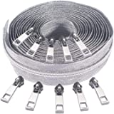 Zipper by The Yard 5# -Nylon Metallic Coil Zippers for Sewing, Silver Long Zippers 5 Yard Upholstery with 10 White Gold Zippe