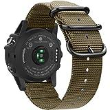Fintie Band for Garmin Fenix 6X / Fenix 5X Plus/Tactix Charlie Watch, 26mm Premium Woven Nylon Adjustable Replacement Strap f