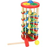 Wooden Ball Toy Colorful Ladder Hammer Knock Early Education Toys Classic Pounding Stairs Preschool Kids Children