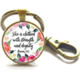 She Laughs Without Fear of Future,Proverbs 31 Woman,She is Clothed in Strength,Bible Verse Keychain,Scripture Keychain,Christ