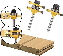 木工用 超硬刃 ルータービット 1/4インチ 3歯T-スロット 切削工具 戸板彫刻 ほぞカッター 電動トリマー用ビット ツール 2本入り