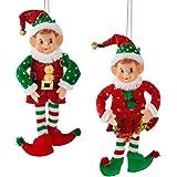 "Kurt Adler 12"" Stuffed Elf Christmas Ornament 2 Assorted"