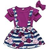 Toddler Baby Girl Birthday Outfits Floral Romper+Suspender Skirt+Headband Summer Overall Dress
