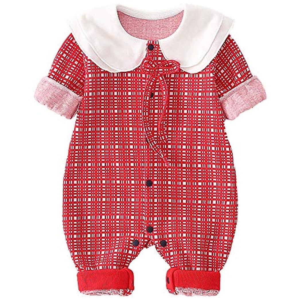 魅了する棚打ち上げるDJIAQJI 赤ちゃんクロールスーツ、ガールズボタン連接春と秋のニットパジャマ、新生児ロングスリーブコットンクロールスーツ (Size : 80cm)