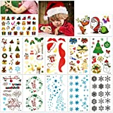 Christmas Tattoos for Kids (12Sheet 160Deigns), Konsait Christmas Themed Temporary Tattoo with Glitter Fake Stickers Face Tattoos Waterproof Xmas Party Favor Accessory Supplies Pack for Women Children