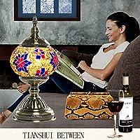 RL-テーブルランプ ヨーロッパのホテルの寝室の雰囲気ランプモザイクガラス装飾的な枕元の卓上スタンド (Color : C, サイズ : 28x14cm)