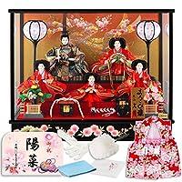 雛人形 久月 ひな人形 雛 ケース飾り 五人飾り よろこび雛 オルゴール付 B.のしめ桜図 柄 h303-k-4-36-ab
