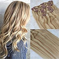 HairDancing 35cm 7Pcs 120g Full Head Set Clip in Highlight Extensions Remy Human Hair Brown #18 Ash Blonde with Color #613 Bleach Blonde Hair Extensions Clip in Extensions