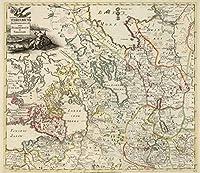 National Atlas | 1745Territorium archangelopolin Inter petroburgum et vologdam | Historicアンティークヴィンテージマップ再印刷 24in x 28in 573029_2428