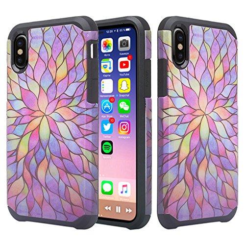 iPhone X 10ケース - スリムハイブリッドハード保護電話カバー - Fusn SGP親(Rainbow Flower)