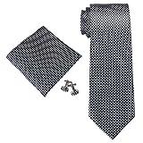 Landisun ソリッド メンズ シルク ネクタイ セット:ネクタイ+ハンカチ+カフス 18A85 シルバーグレー, 148x8.25cm