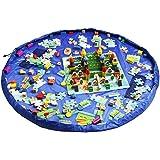 Dazers 玩具收纳包 儿童游戏垫 收拾简单 特大垫 直径150cm 防水 积木 收纳袋, 蓝色