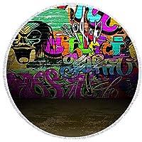 Ta-weo ヨガラウンドマット150センチビーチタオルプリントタッセルサボテンブランケットピクニックマイクロファイバー大マットパンクトレンド (Color : 1-6, Size : 150CM)