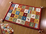 WOOL 100%全厚20mm(レッドチェック) インド手織りギャッベ 45×75 ラグマット ウール 北欧 夏 カーペット 絨毯 おしゃれ /玄関マット ギャベ ギャッベ ラグ マット 室内