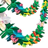 FuturePlusX Tissue Flower Garland, 2 Pack 9 Feet Long Tropical Paper Flower Leaves Garland Banner Colorful Party Banner for P