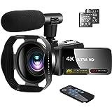ビデオカメラ 4K ユーチューブカメラ 3000万画素 外付けマイク+フード LEDフィルライト 18倍デジタルズーム…