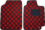 送料無料 新品 汎用フロアマット カーマット 軽自動車/普通自動車 フロント2枚 黒×赤(チェック柄) 国内産 FBA